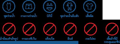 กรุณาสวมชุดว่ายน้ำในการเข้าใช้บริการ ไม่สวมชุดยีนส์ หรือชุดที่มีวัสดุที่เป็นโลหะ เช่น ซิป หรือหัวเข็มขัด เป็นต้น